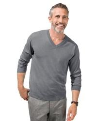 grauer Pullover mit einem V-Ausschnitt von MARCO DONATI
