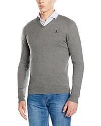 grauer Pullover mit einem V-Ausschnitt von Scalpers