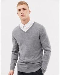 grauer Pullover mit einem V-Ausschnitt von Selected Homme