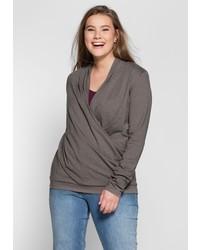grauer Pullover mit einem V-Ausschnitt von SHEEGO CASUAL