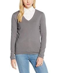 grauer Pullover mit einem V-Ausschnitt von Tommy Hilfiger
