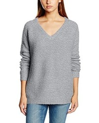 grauer Pullover mit einem V-Ausschnitt von VILA CLOTHES
