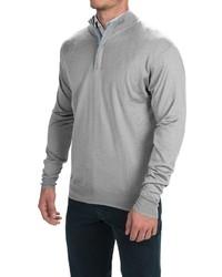 grauer Pullover mit einem zugeknöpften Kragen
