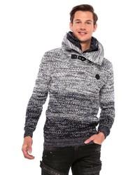 grauer Pullover mit einem zugeknöpften Kragen von Cipo & Baxx