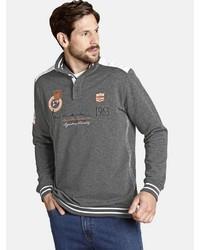 grauer Pullover mit einem zugeknöpften Kragen von Jan Vanderstorm