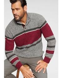 grauer Pullover mit einem zugeknöpften Kragen von mans world