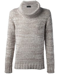grauer Pullover mit einer weiten Rollkragen von Daniele Fiesoli