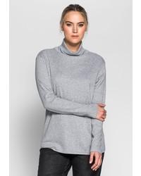 grauer Pullover mit einer weiten Rollkragen von SHEEGO BASIC