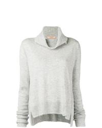 grauer Pullover mit einer weiten Rollkragen von Twin-Set