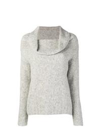 grauer Pullover mit einer weiten Rollkragen von Vince