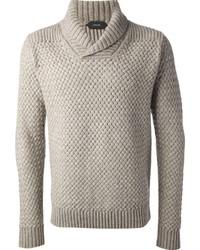 grauer Pullover mit einer weiten Rollkragen von Zanone