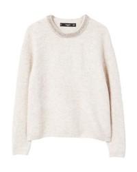 grauer Pullover mit einem Rundhalsausschnitt von Mango