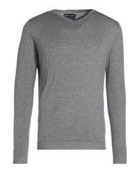 grauer Pullover mit einem V-Ausschnitt von Jack & Jones