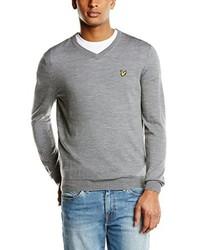 Grauer Pullover mit V-Ausschnitt von Lyle & Scott