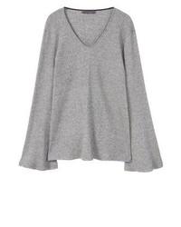 Grauer Pullover mit V-Ausschnitt von Mango