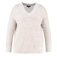 Grauer Pullover mit V-Ausschnitt von New Look