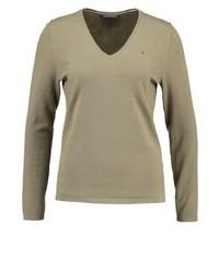 Grauer Pullover mit V-Ausschnitt von Tommy Hilfiger