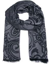 grauer Schal mit Paisley-Muster von Etro