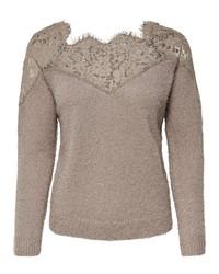 grauer Spitze Pullover mit einem Rundhalsausschnitt von Only