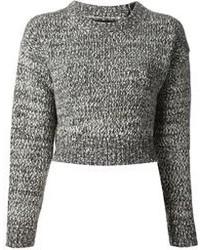 grauer Strick kurzer Pullover