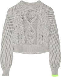 grauer Strick kurzer Pullover von MM6 MAISON MARGIELA