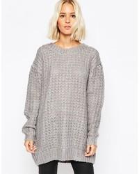 grauer Strick Oversize Pullover von Cheap Monday