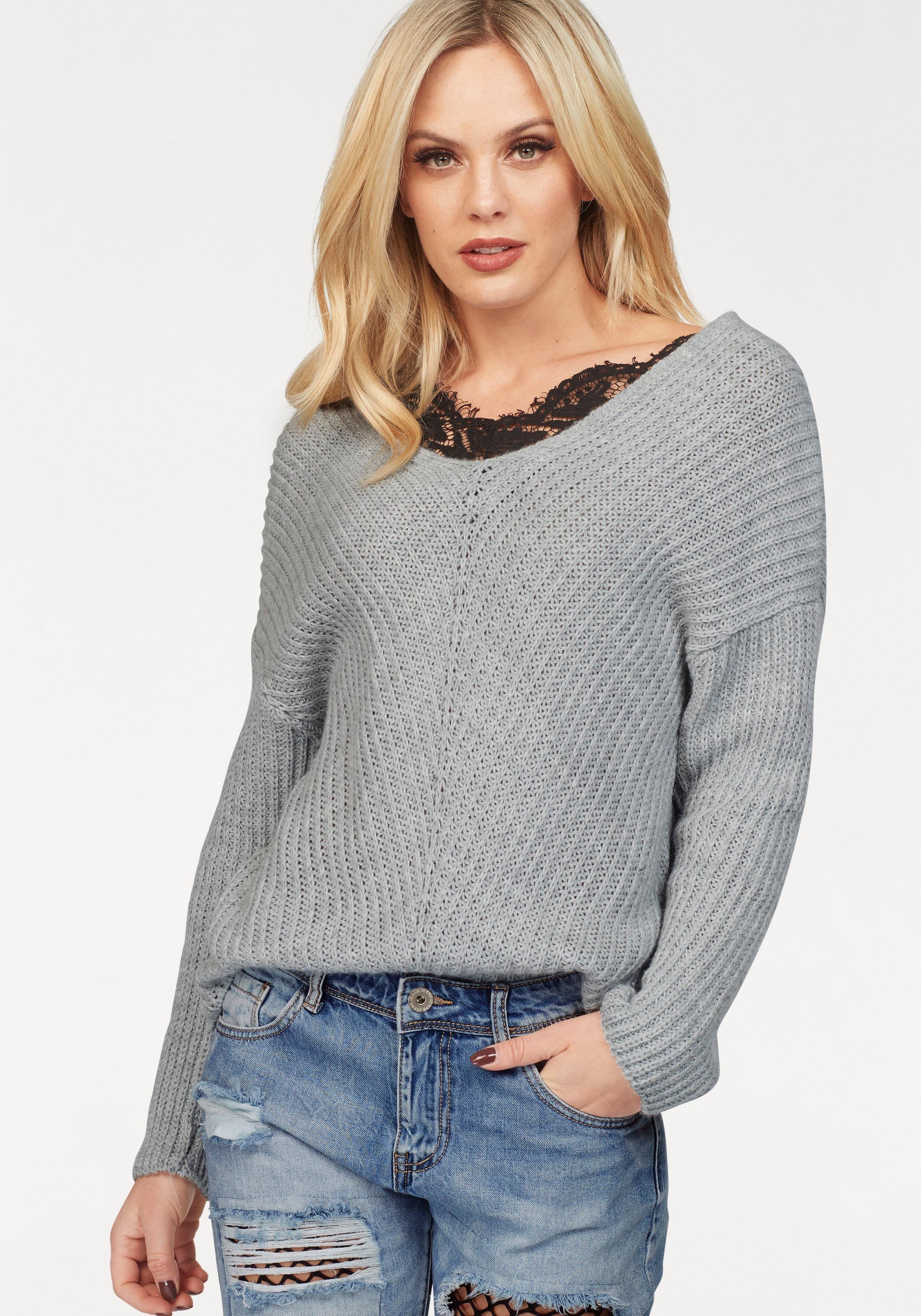 grauer Strick Oversize Pullover von Hailys   Wo zu kaufen und wie zu ... a04174de41