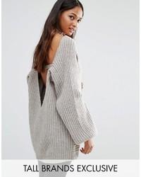 grauer Strick Oversize Pullover