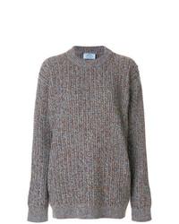 grauer Strick Oversize Pullover von Prada