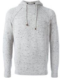 grauer Strick Pullover mit einem Kapuze