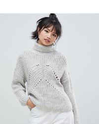 grauer Strick Wollrollkragenpullover von Asos Petite