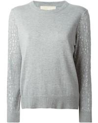 grauer verzierter Pullover mit einem Rundhalsausschnitt von MICHAEL Michael Kors