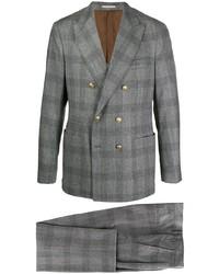 grauer Wollanzug mit Schottenmuster von Brunello Cucinelli