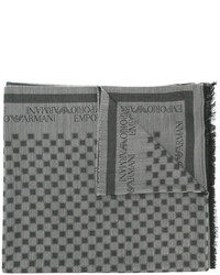 grauer Wollschal mit Karomuster von Emporio Armani