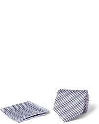 graues Baumwolle Einstecktuch mit Schottenmuster