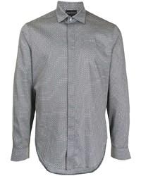 graues bedrucktes Businesshemd von Emporio Armani