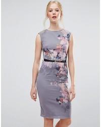 graues bedrucktes figurbetontes Kleid von Little Mistress