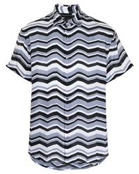graues bedrucktes Kurzarmhemd von Emporio Armani