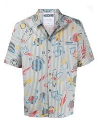 graues bedrucktes Kurzarmhemd von Moschino