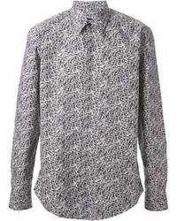 graues bedrucktes Langarmhemd