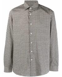 graues bedrucktes Langarmhemd von Salvatore Ferragamo
