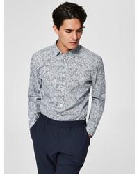 graues bedrucktes Langarmhemd von Selected Homme