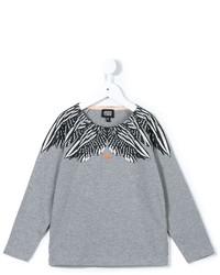 graues bedrucktes Langarmshirt von Armani Junior