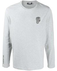 graues bedrucktes Langarmshirt von Karl Lagerfeld