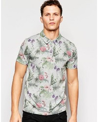 graues bedrucktes Polohemd von ONLY & SONS