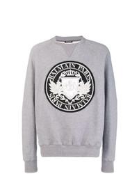 graues bedrucktes Sweatshirt von Balmain