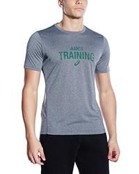 graues bedrucktes T-Shirt mit einem Rundhalsausschnitt von Asics