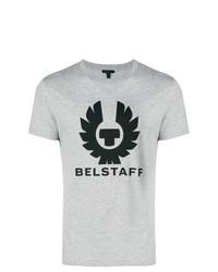 graues bedrucktes T-Shirt mit einem Rundhalsausschnitt von Belstaff