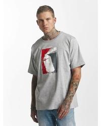 graues bedrucktes T-Shirt mit einem Rundhalsausschnitt von Dangerous