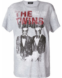 graues bedrucktes T-Shirt mit einem Rundhalsausschnitt von Dsquared2